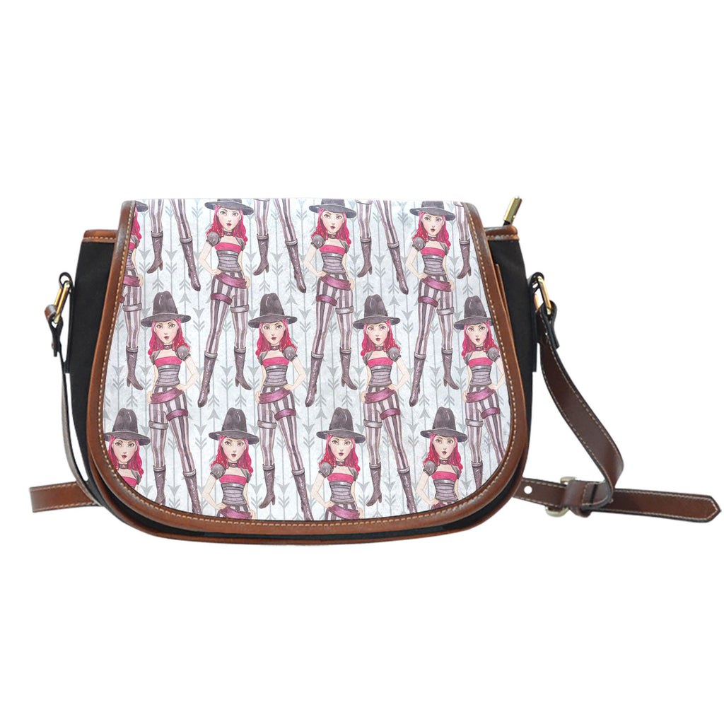 Vampire Themed Design 10 Crossbody Shoulder Canvas Leather Saddle Bag