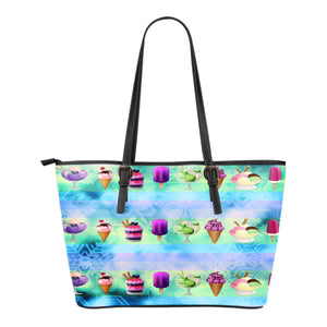 Ice Cream Themed Design C2 Women Small Leather Tote Bag