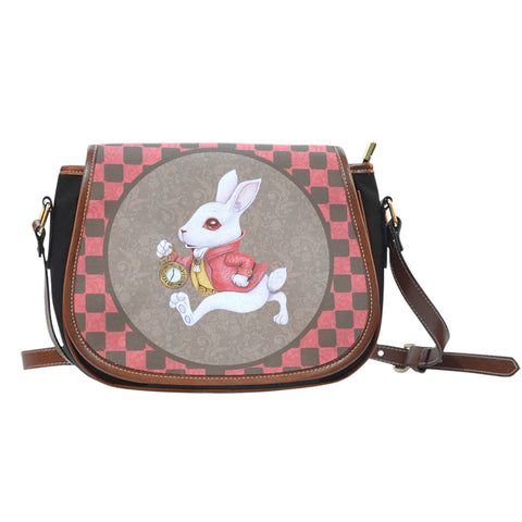 Alice Checkerd Rabbit Leather Saddle Bag - STUDIO 11 COUTURE