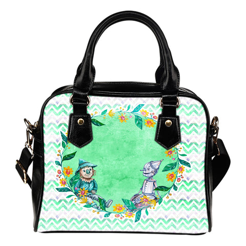 Wizard Of Oz Themed Design B1 Women Fashion Shoulder Handbag Black Vegan Faux Leather