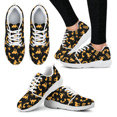 Orange Cat Halloween Women Athletic Sneakers