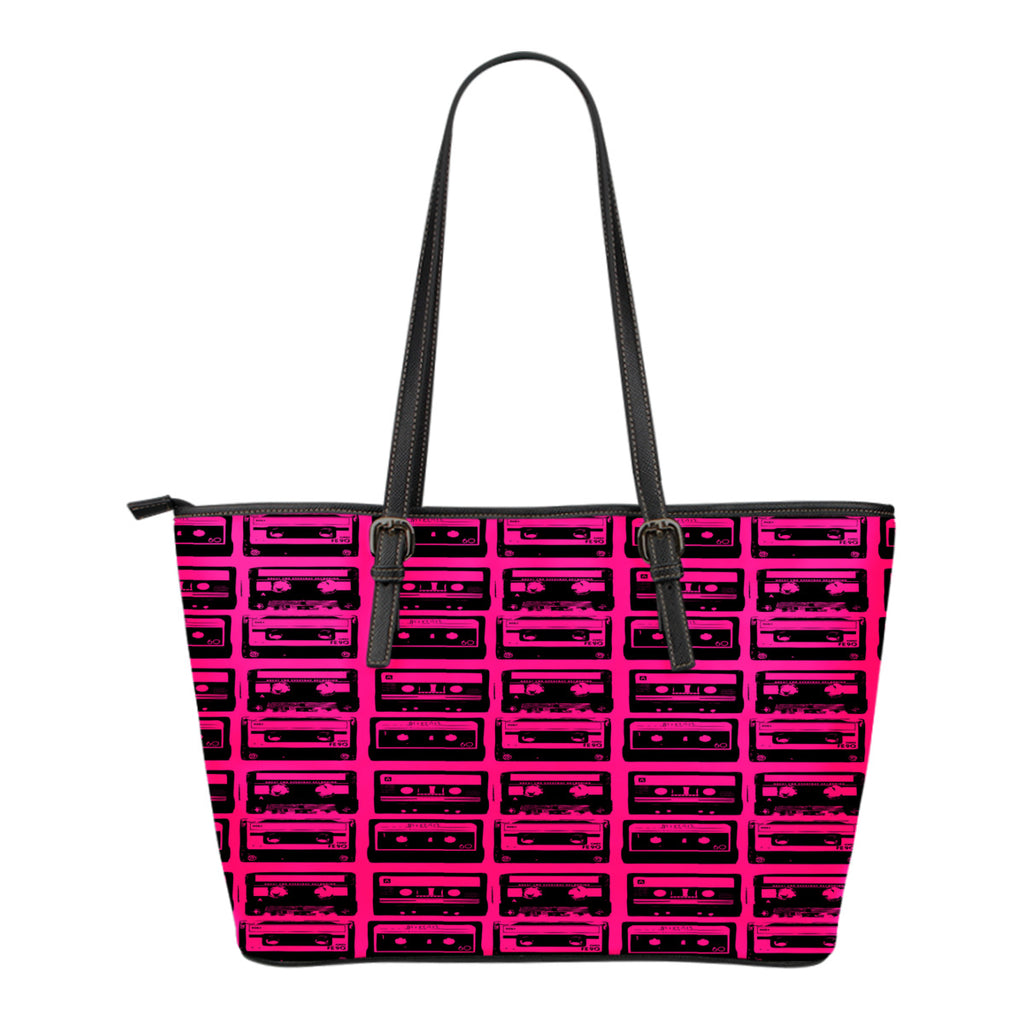 80s Boombox Themed Design C2 Women Small Leather Tote Bag