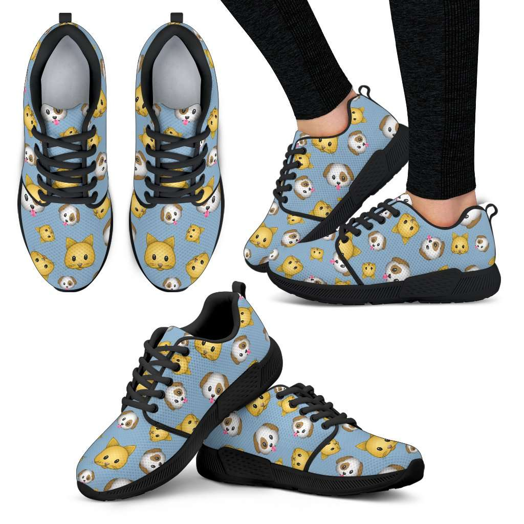 Emoji Cats And Dogs Womens Athletic Sneakers