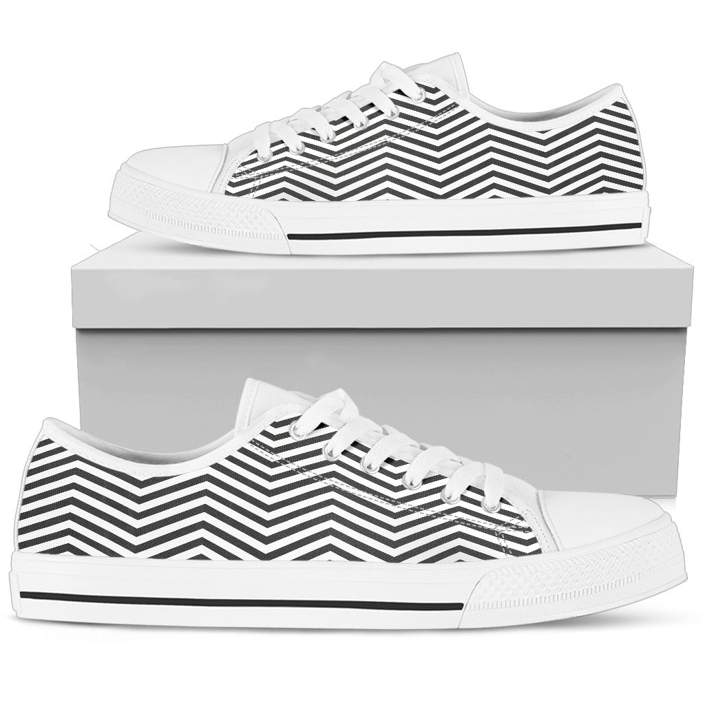 Black and White Zigzag Floral Spring Women Low Top Shoes