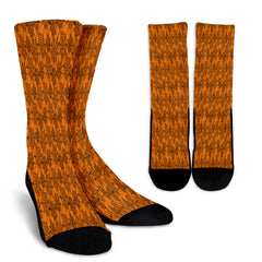Orange Spider Web Halloween Crew Socks