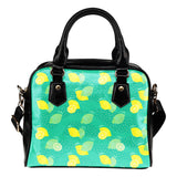 Fruits Themed Design B11 Women Fashion Shoulder Handbag Black Vegan Faux Leather