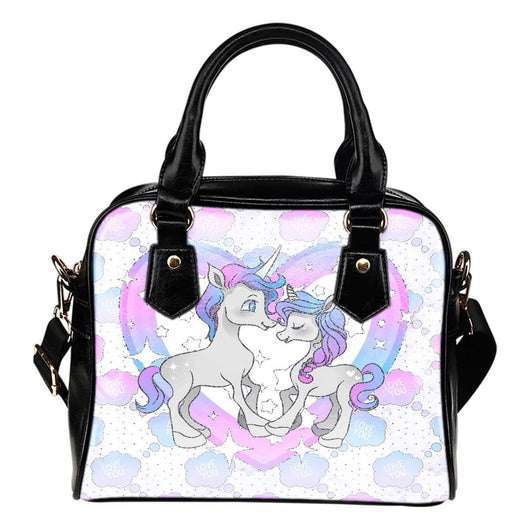 Unicorn Love Theme Women Fashion Shoulder Handbag Black Vegan Faux Leather - STUDIO 11 COUTURE