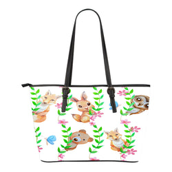 Woodland Themed Design C8 Women Small Leather Tote Bag