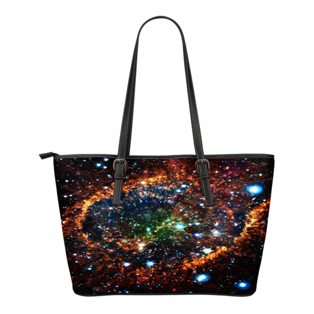 Galaxy Themed Design C5 Women Small Leather Tote Bag