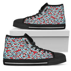 Red White Blue Floral Women High Top Shoes