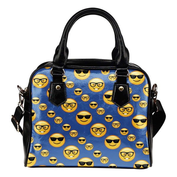Fun Emojis Glasses Theme Women Fashion Shoulder Handbag Black Vegan Faux Leather - STUDIO 11 COUTURE