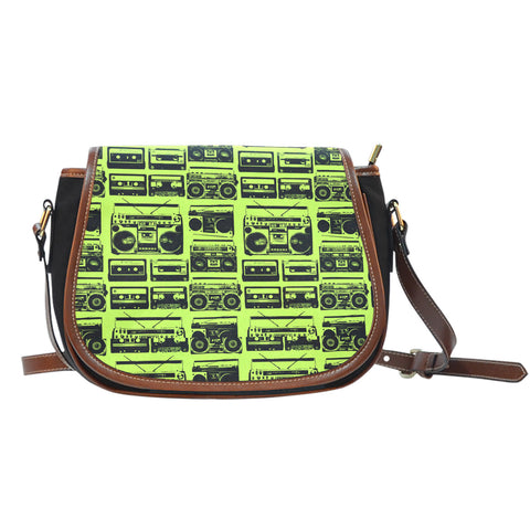 80s Boombox (A2) Crossbody Shoulder Canvas Leather Saddle Bag