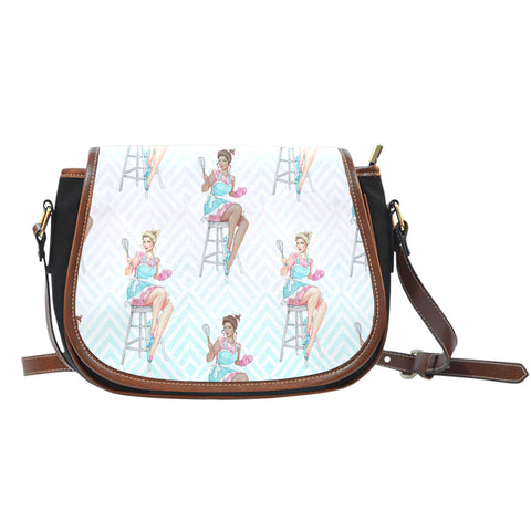 Baking Themed Pastry Lady Crossbody Shoulder Canvas Leather Saddle Bag