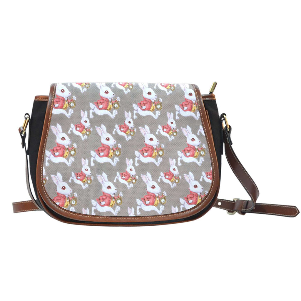 Alice In Wonderland Rabbits Crossbody Shoulder Canvas Leather Saddle Bag