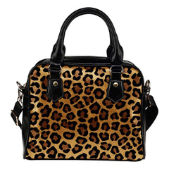 Animal Prints Leopard Theme Women Fashion Shoulder Handbag Black Vegan Faux Leather