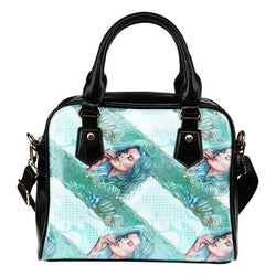 Summer Mermaid Themed Design B1 Women Fashion Shoulder Handbag Black Vegan Faux Leather