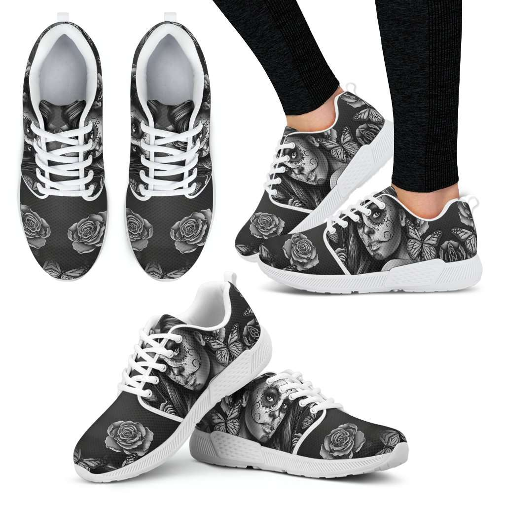 Black and White Sugar Skull Girl Womens Athletic Sneakers - STUDIO 11 COUTURE