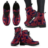 Woodland Creatures Red Womens Leather Boots - STUDIO 11 COUTURE