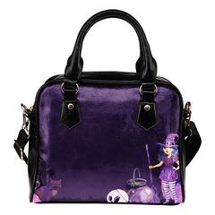 Witch Themed Design B3 Women Fashion Shoulder Handbag Black Vegan Faux Leather