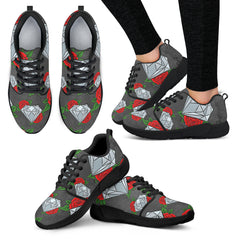 Diamond and Red Rose Women Athletic Sneakers