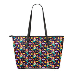 Mermaid Themed Design C13 Women Small Leather Tote Bag