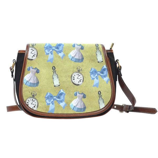 Alice Shrink Bottle Yellow Crossbody Shoulder Canvas Leather Saddle Bag