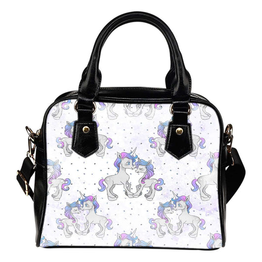 Unicorn In love Theme Women Fashion Shoulder Handbag Black Vegan Faux Leather - STUDIO 11 COUTURE