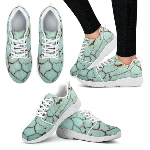 Cracked Dirty Marble Tile Women Athletic Sneakers
