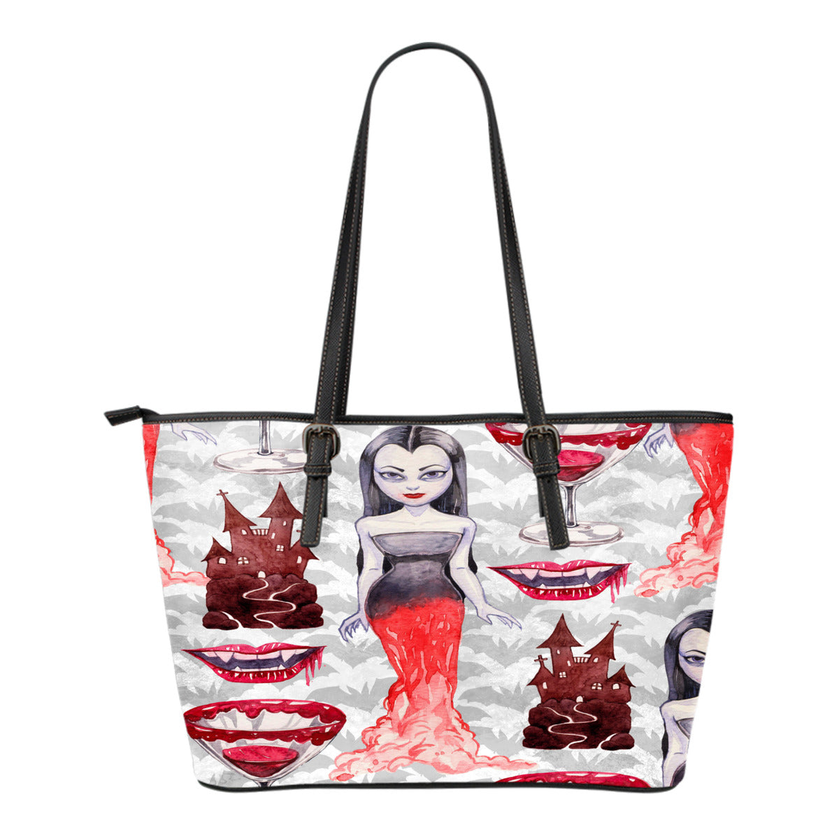 Vampire Themed Design C3 Women Small Leather Tote Bag