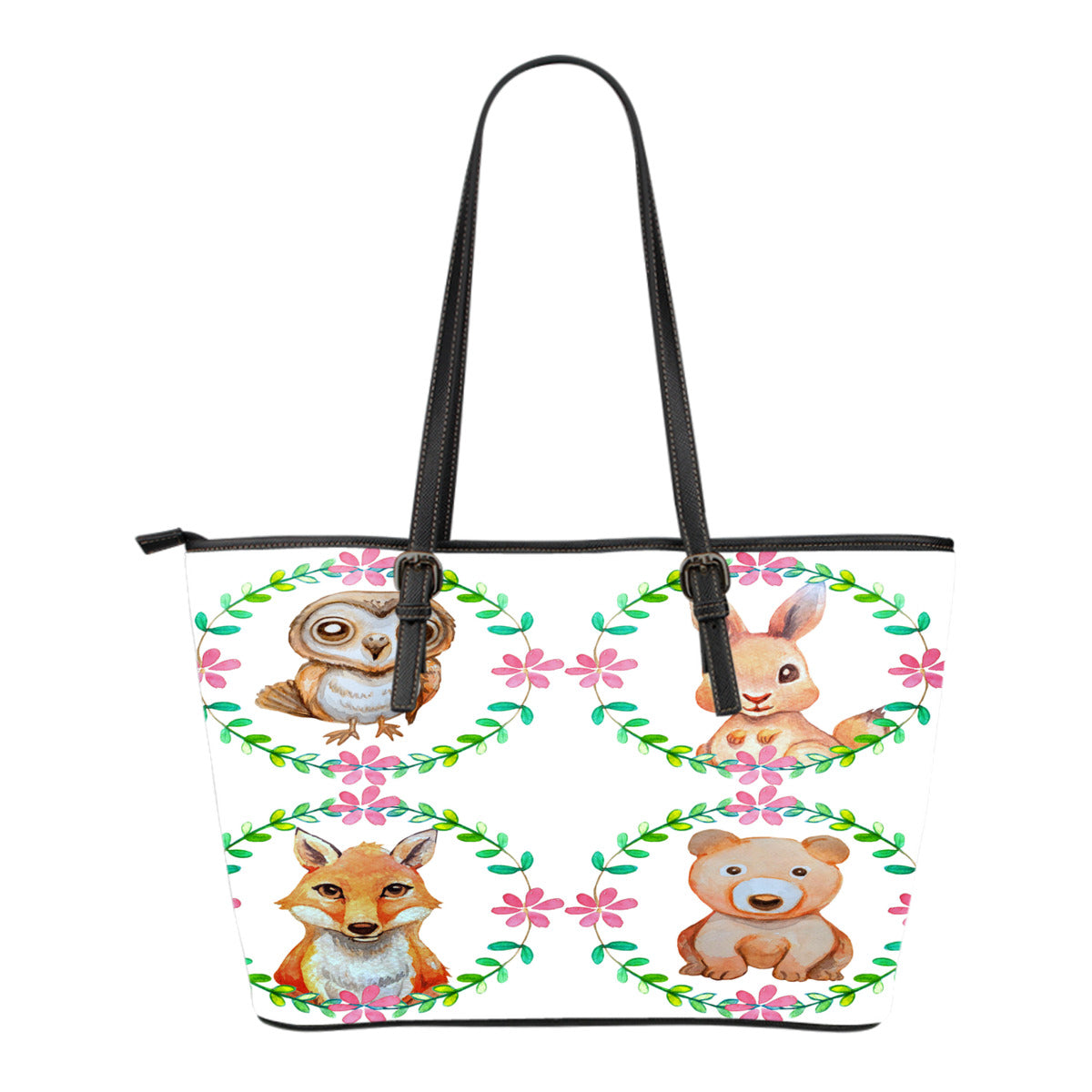 Woodland Themed Design C11 Women Small Leather Tote Bag