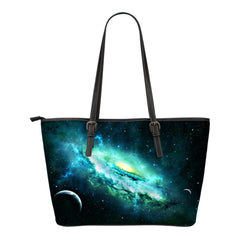 Galaxy Themed Design C7 Women Small Leather Tote Bag