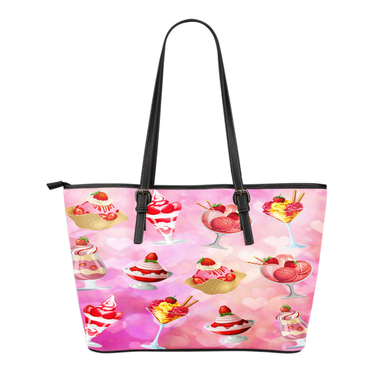 Ice Cream Themed Design C8 Women Small Leather Tote Bag