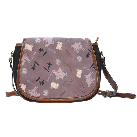 Alice White Rabbit Crossbody Shoulder Canvas Leather Saddle Bag