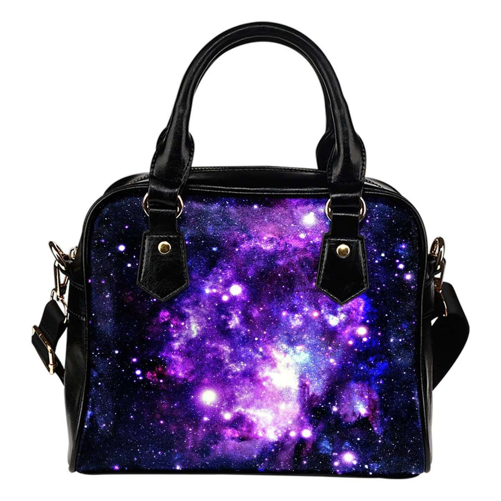 Galaxy #3 Theme Women Fashion Shoulder Handbag Black Vegan Faux Leather