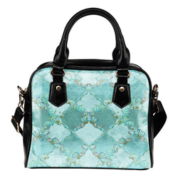 Summer Mermaid Themed Design B10 Women Fashion Shoulder Handbag Black Vegan Faux Leather