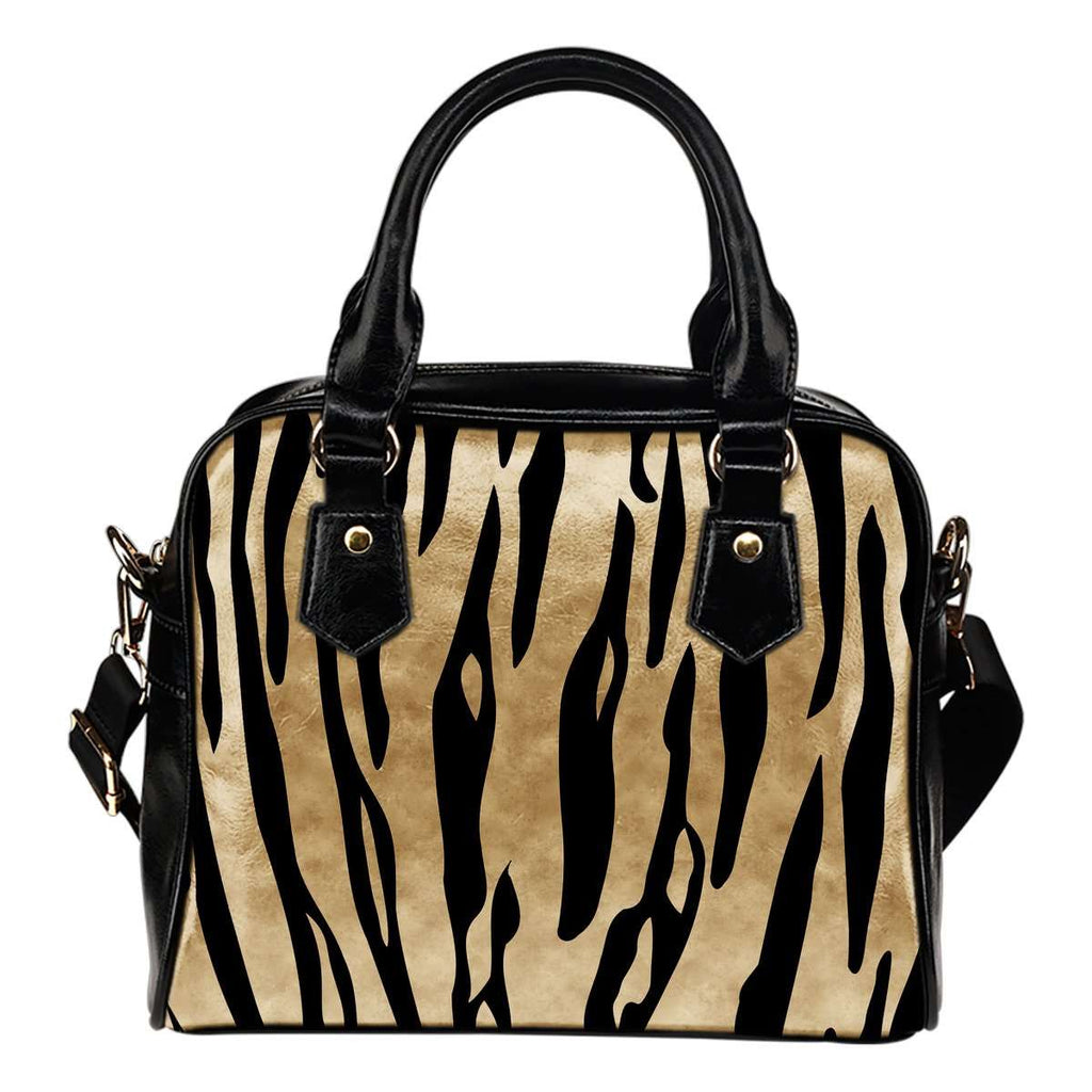 Animal Prints White Tiger Stripes Theme Women Fashion Shoulder Handbag Black Vegan Faux Leather