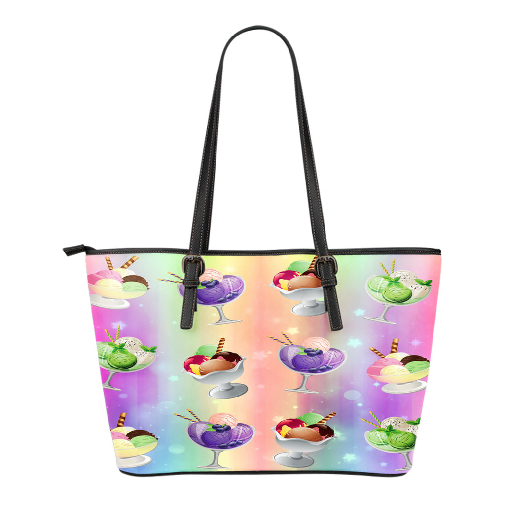 Ice Cream Themed Design C10 Women Small Leather Tote Bag