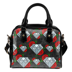 Sugar Skull (A6) Theme Women Fashion Shoulder Handbag Black Vegan Faux Leather