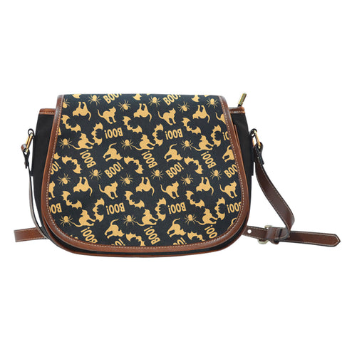 Trick or Treat (K10) Crossbody Shoulder Canvas Leather Saddle Bag