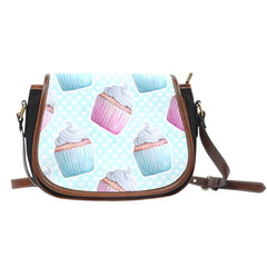 Baking Themed Sweet Cupcakes 2 Crossbody Shoulder Canvas Leather Saddle Bag