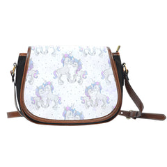Unicorn In Love Dotted Leather Saddle Bag