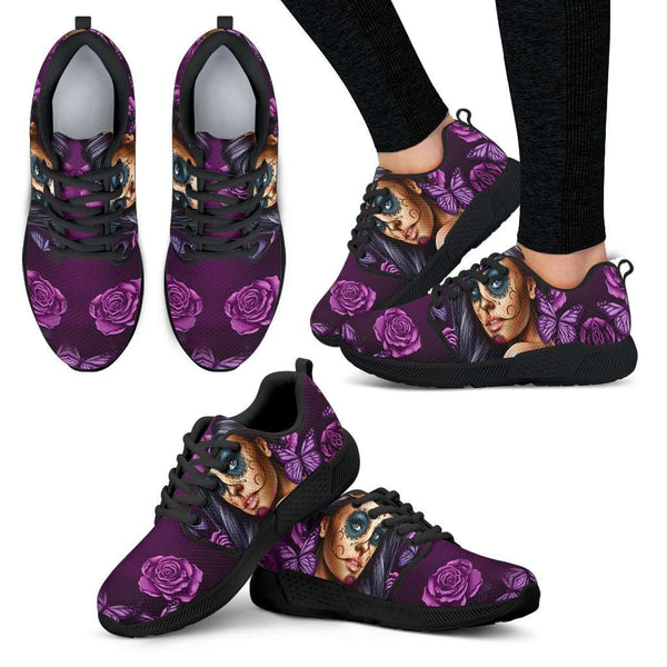 Violet Sugar Skull Girl Womens Athletic Sneakers - STUDIO 11 COUTURE