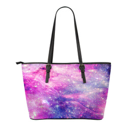 Pastel Galaxy Themed Design C1 Women Small Leather Tote Bag