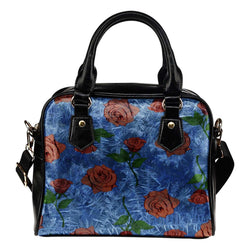 Beauty And The Beast Rose Theme Women Fashion Shoulder Handbag Black Vegan Faux Leather