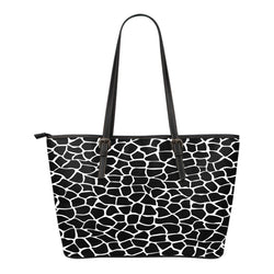 Animal Print BW Themed Design C4 Women Small Leather Tote Bag