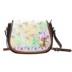 Spring Paper Themed Design 10 Crossbody Shoulder Canvas Leather Saddle Bag