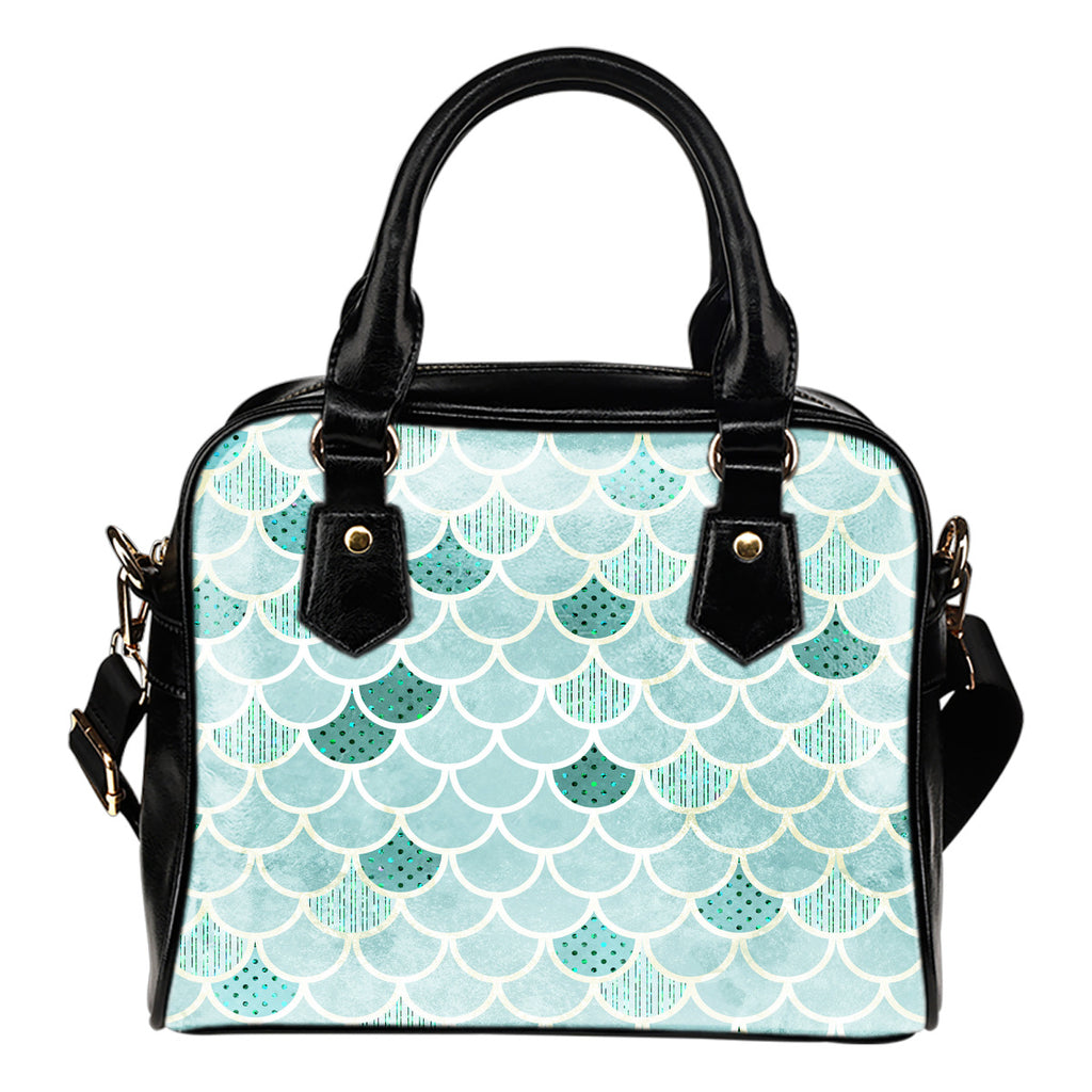 Summer Mermaid Themed Design B6 Women Fashion Shoulder Handbag Black Vegan Faux Leather