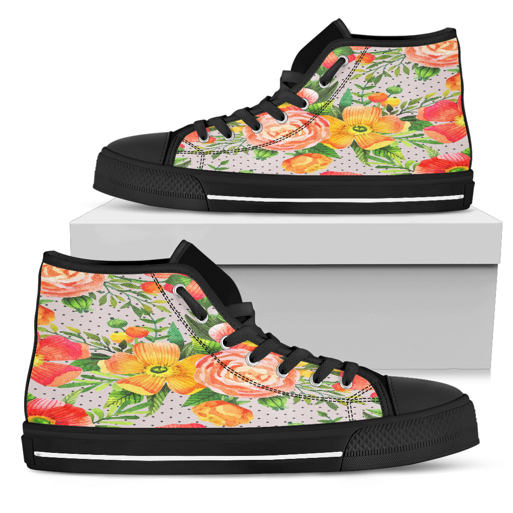 Beautiful Floral Spring Women High Top Shoes