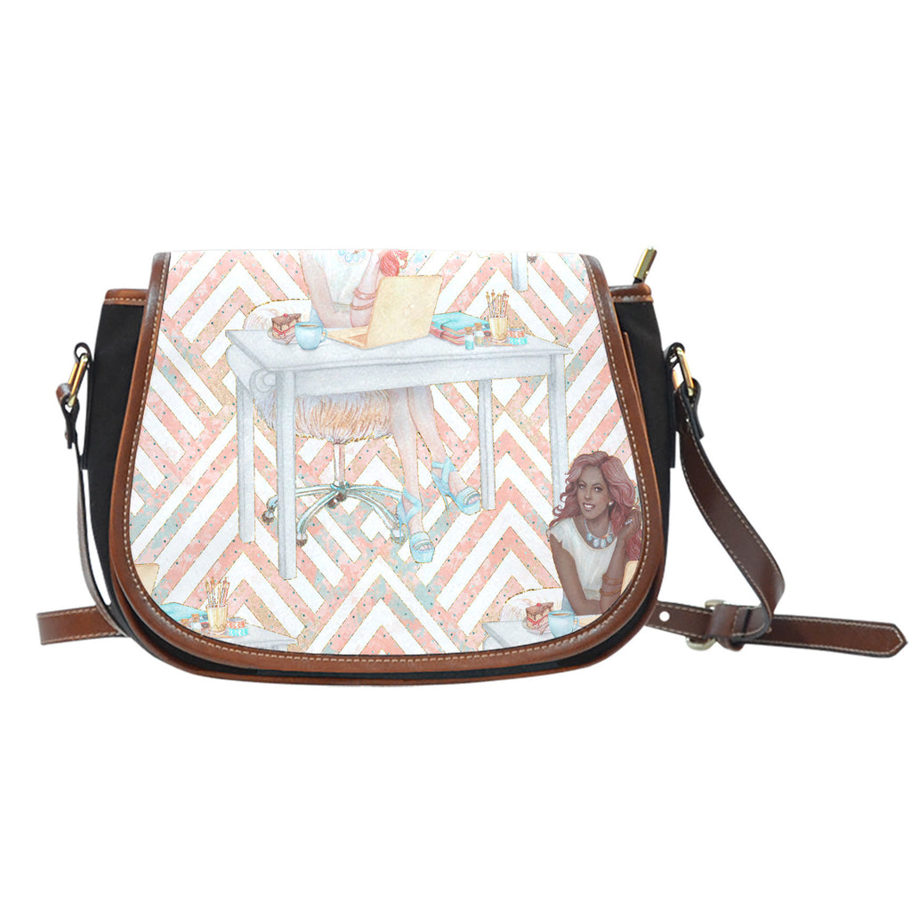 Crafter Fashion Themed Design A7 Crossbody Shoulder Canvas Leather Saddle Bag