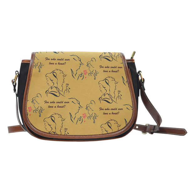 Beauty And Beast Love Crossbody Shoulder Canvas Leather Saddle Bag